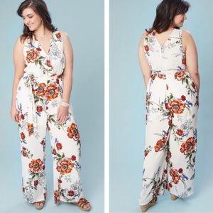 Alter'd State   White Floral Jumpsuit sz L